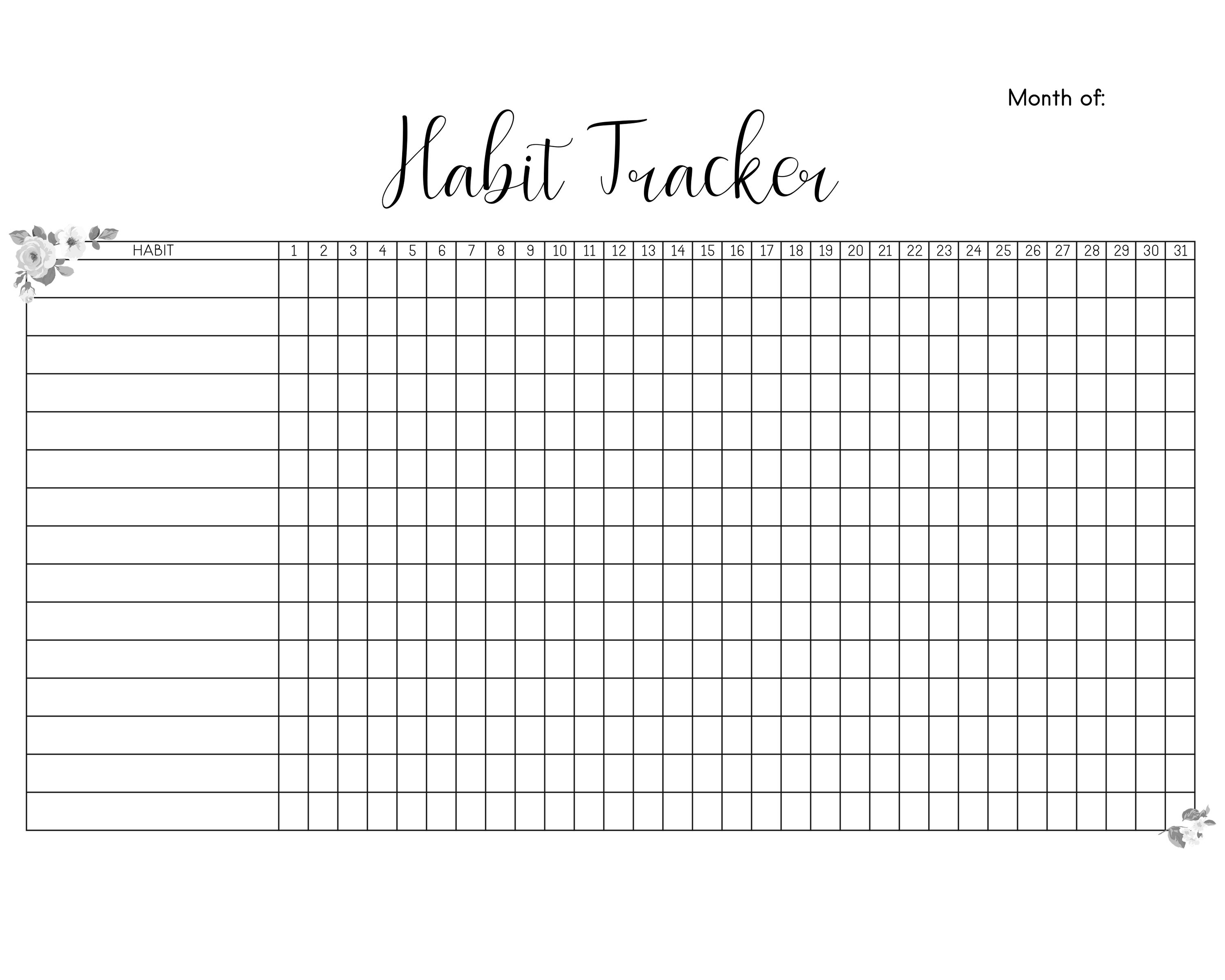 This is a picture of Monthly Habit Tracker Printable regarding printable evermore paper co